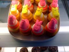 cake(0.0), peeps(1.0), sweetness(1.0), food(1.0), icing(1.0), dessert(1.0), pink(1.0),
