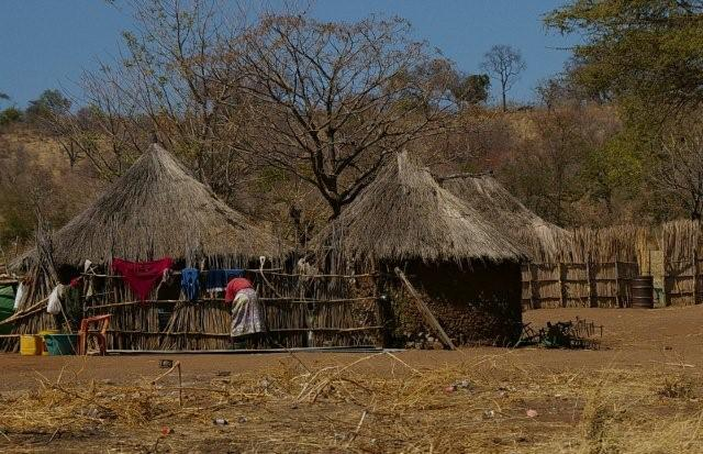 Traditional African huts Botswana in the vicinity of