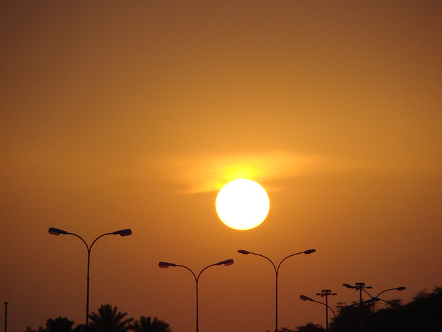 Sunset -Muscat traffic signal