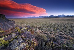 Sunset over the Sierra Crest and High Desert near Mammoth Lakes, California
