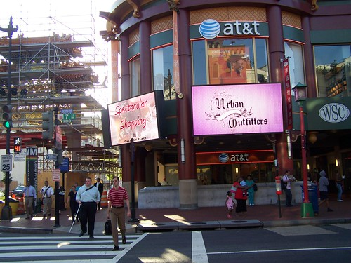 """Spectacular shopping,"" Chinatown advertising, digital billboard, Gallery Place, DC"