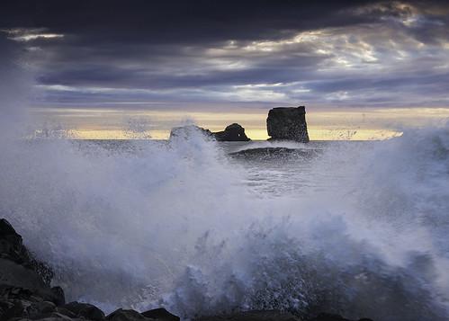 sunset sea seascape motion landscape iceland movement rocks surf waves power atlantic formations dyrholaey