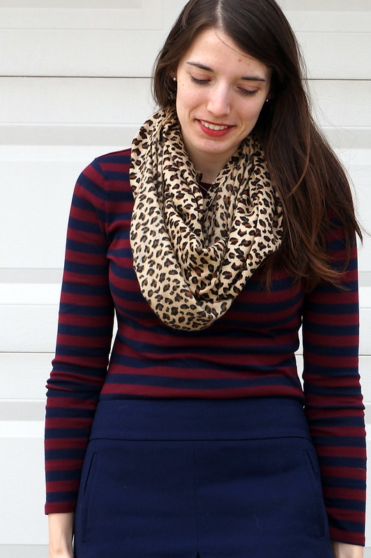 stripes and leopard scarf