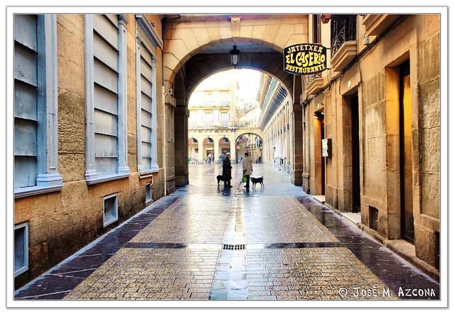 San Sebastian  - Donostia. Plaza de la Constitución desde la calle de San Jerónimo.
