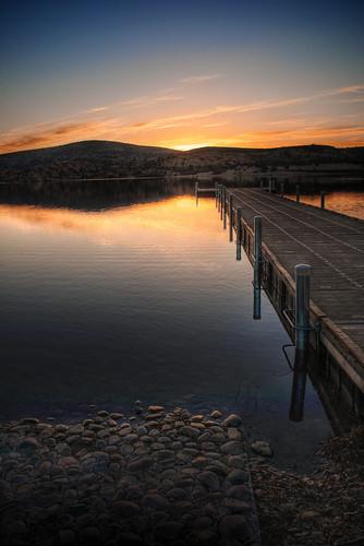morning arizona sky lake water sunrise dock nikon az shore watson granite 1855 hdr prescott dells picoftheday d90