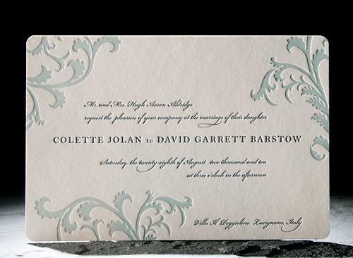 Vettore letterpress wedding invitation midnight blue and sea mist Smock