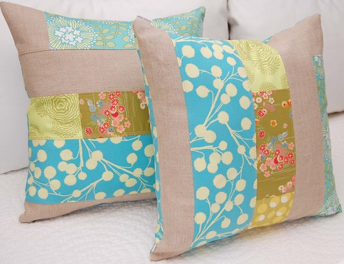 patchwork green and linen pillows 002