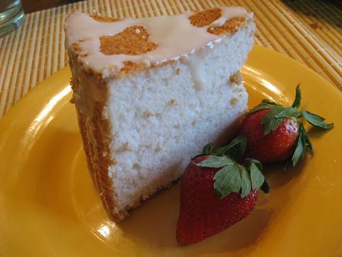 Angel Food Cake with Lemon Glaze and Strawberries