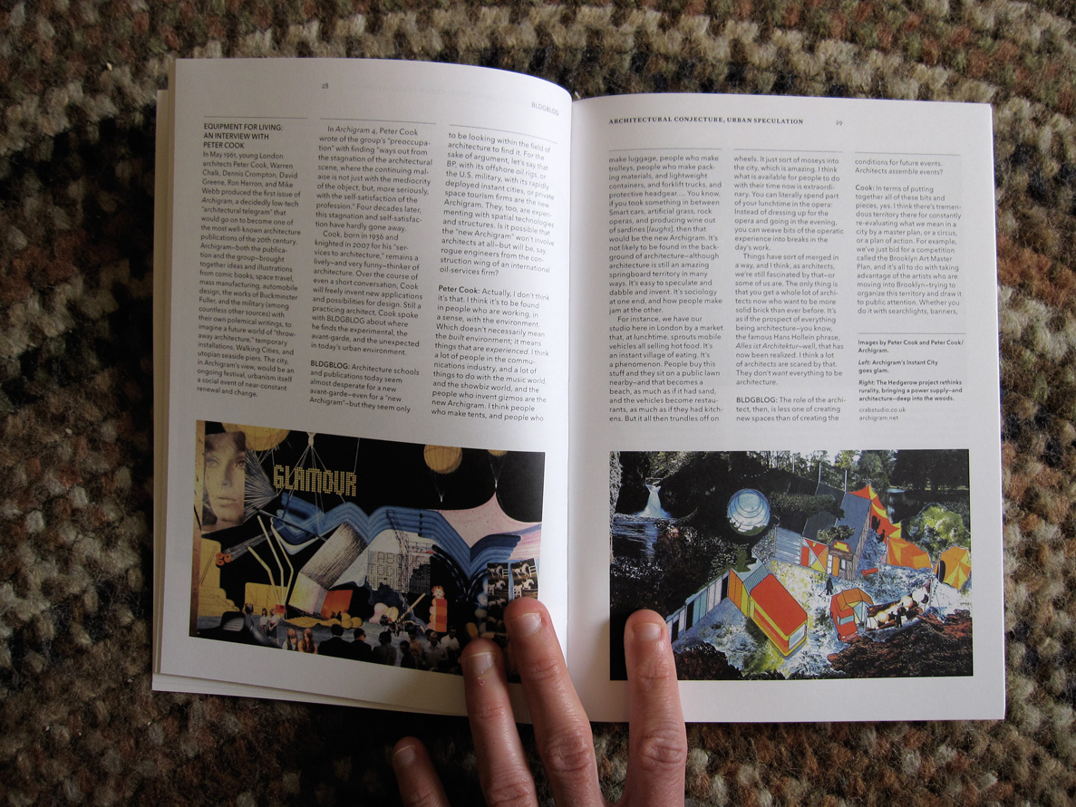 Spread featuring interview with Sir Peter Cook
