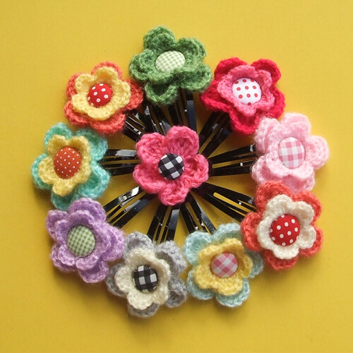 Crochet Hair Pins : Crocheted flower hair pin Flickr - Photo Sharing!