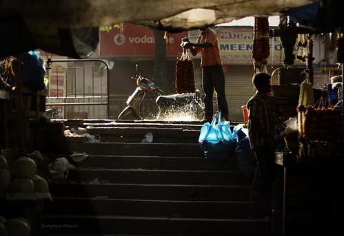 flowers light india water stairs canon market candid bangalore scooter cabbage splash sunrays flowermarket shaft malleswaram malleswarammarket indianphotography canon1000d bangalorethecity ausualdayinlifeatmalleswarammarket malleswaramflowermarket marketshots