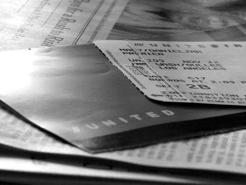 Airline ticket (BW)