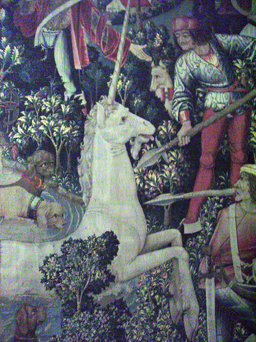 The Unicorn Tapestries Room:  The Unicorn is Attacked (detail).