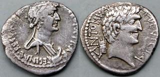543/1 Cleopatra with Mark Antony Denarius ANTONI ARMENIA DEVICTA, CLEOPATRAE REGINAE REGVM. Cleopatra, prow, Antony, Armenian tiara. Asia 32BC. AM#9463-35