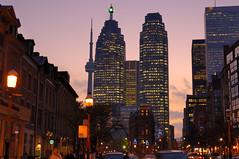 Toronto Flatiron Gooderham building skyscrapers traffic sunset