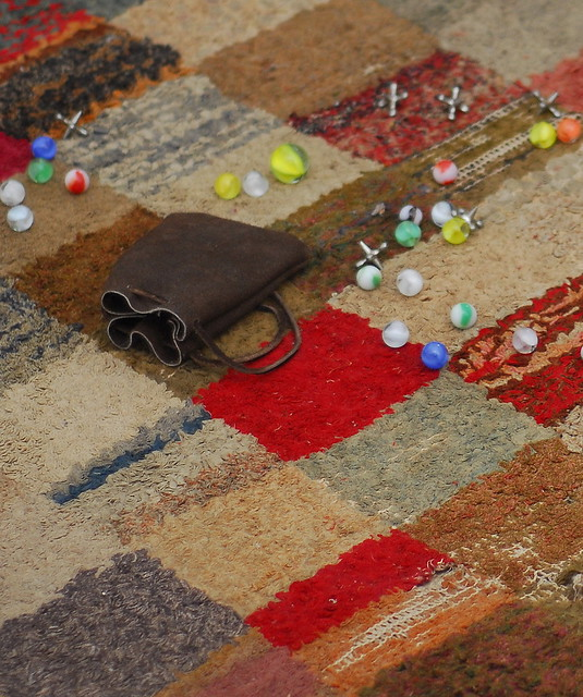 Marbles - Homespun Rug, Children Civil War Era