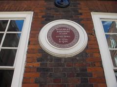 Photo of Samuel Johnson brown plaque