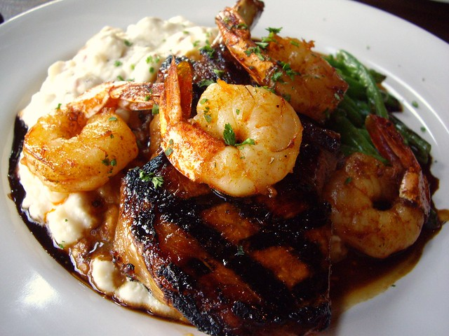 "Savannah ""Surf & Turf"" Brown Sugar Brined Grilled Pork Chop, BBQ ..."
