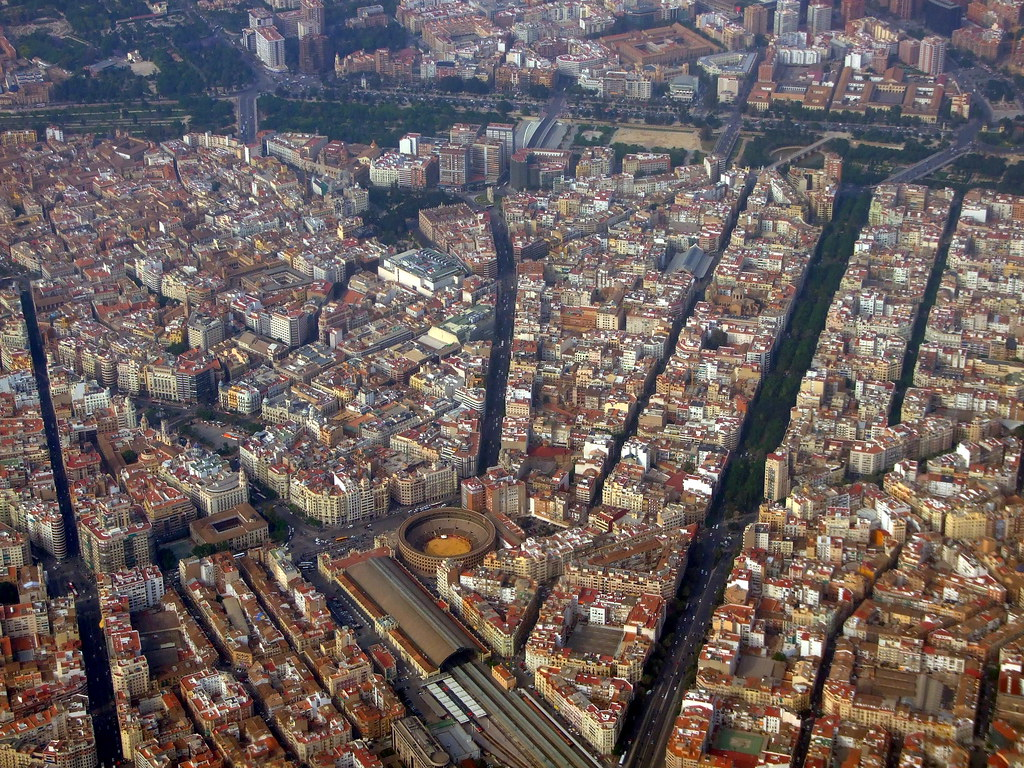 City centre seen from the sky