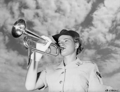 Vintage Woman Soldier Veteran Bugler, WAF U.S, Air Force 1950s