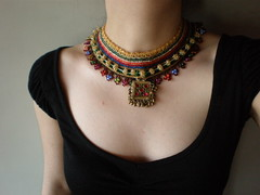 Old World - Royal ... Freeform Crochet Necklace