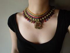 Old World - Royal ... Freeform Crochet Necklace