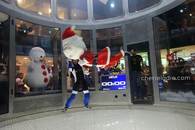 Santa Claus flying at iFly on Christmas