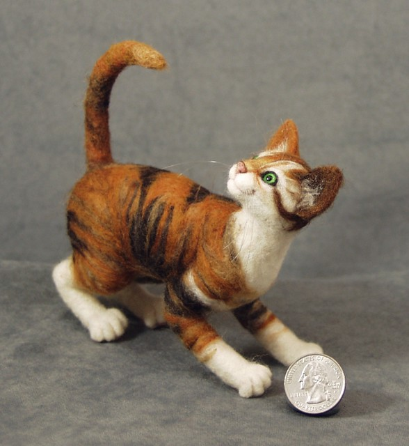 Taffy - needle felted calico Pritten