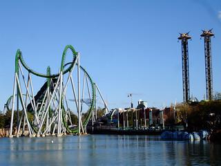Image of The Incredible Hulk Coaster. park winter usa orlando florida roller theme universalstudios coaster 2009 incrediblehulk islandsofadventure doctordoomsfearfall