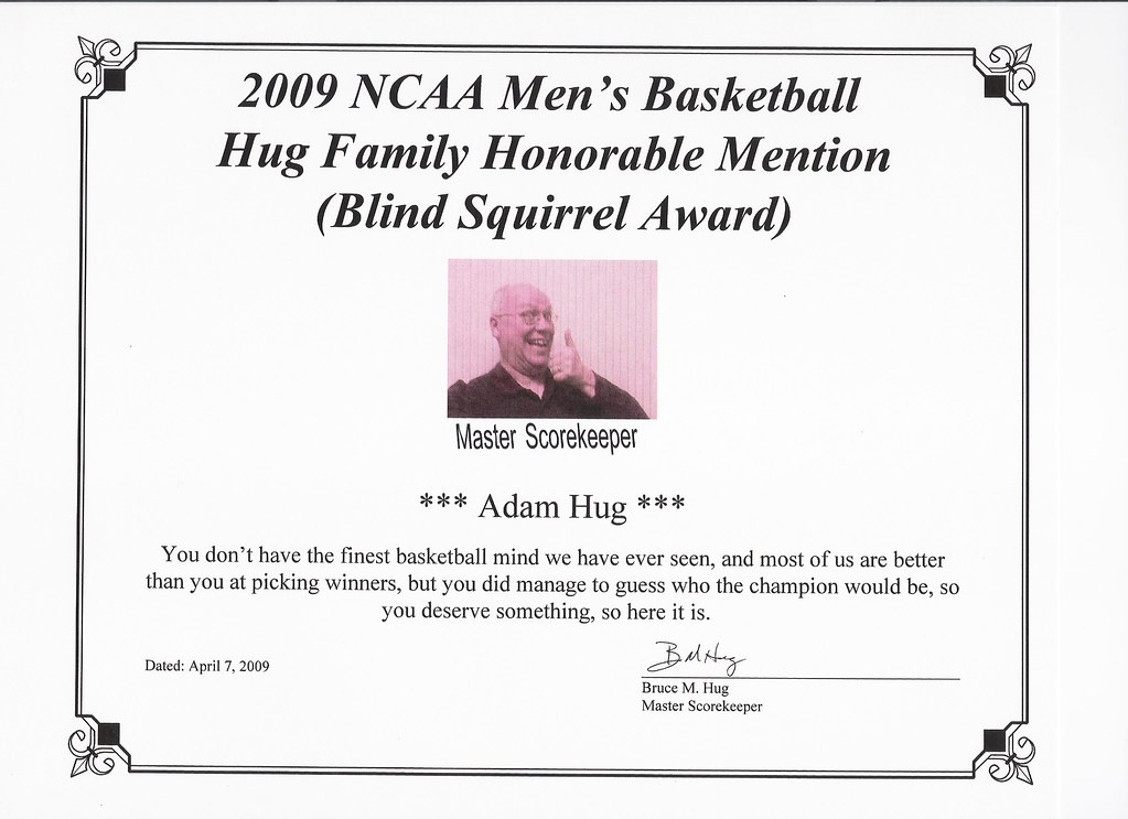 Adam Hug - Honorable Mention (Blind Squirrel Award)