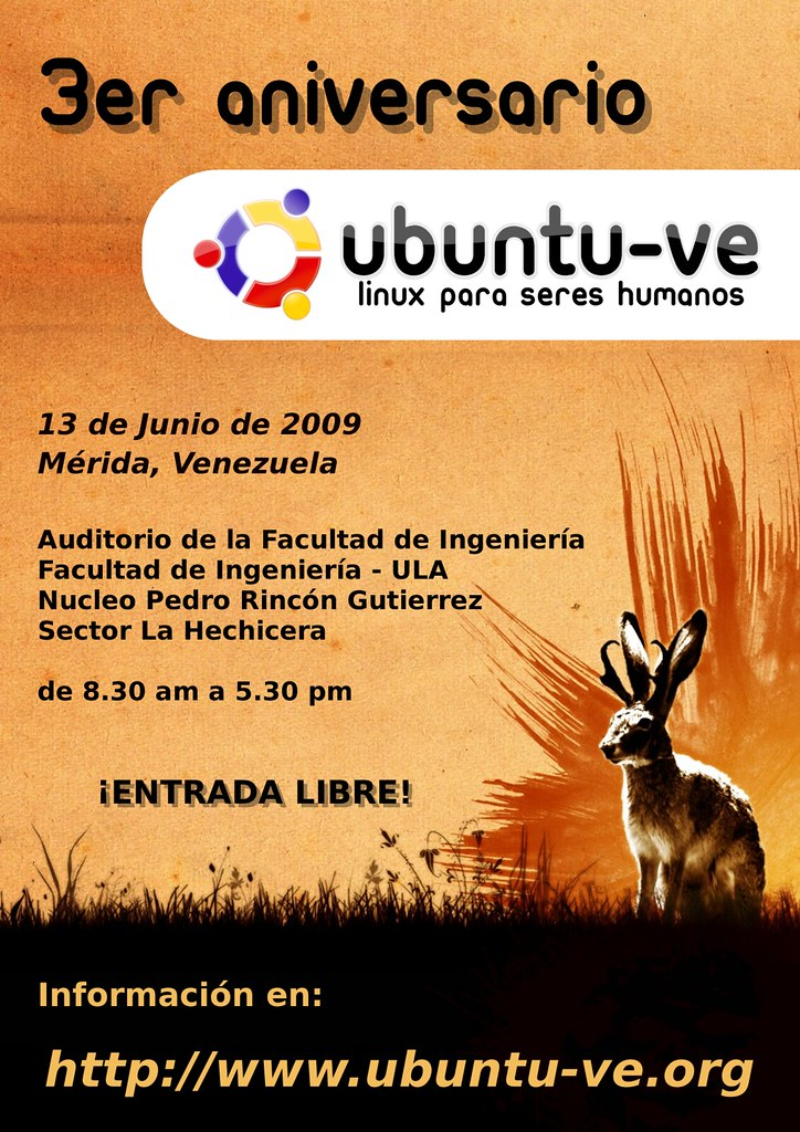 Afiche 3er Aniversario Ubuntu-ve