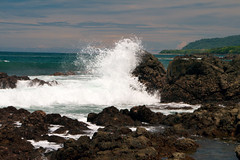 horizon, water, sea, ocean, bay, wind, body of water, wind wave, wave, shore, cove, coast, rock,