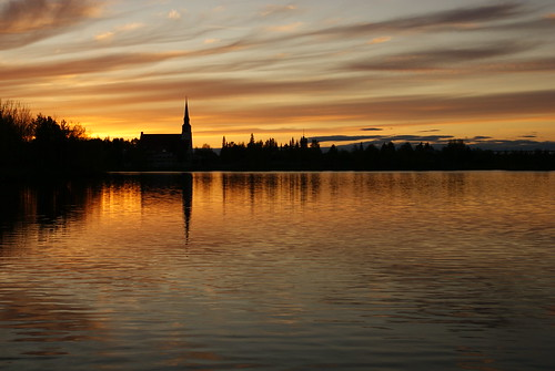 sunset summer sky sun lake church water clouds finland lapland midnight kemijärvi