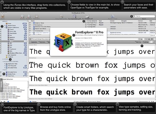 Screenshot of Linotype FontExplorer X Pro.