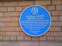 Photo of Leeds & County Liberal Club, Charles Roberts Chorley, and John Wreghitt Connon blue plaque
