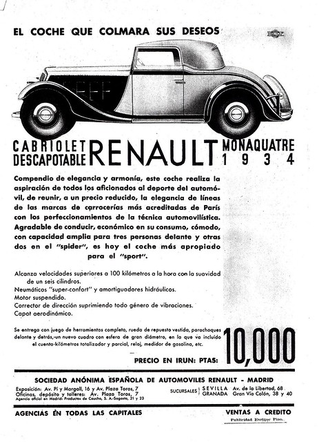 1934 Renault Monaquatre Cabriolet Ad (Spain)