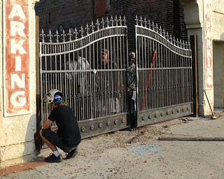 Installing the Gates at Place de la Baume