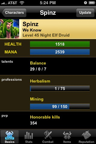 Characters app, iPhone, for WoW