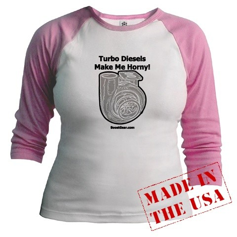 BoostGear - Turbo Diesels Make Me Horny - Ladies Pink Raglan Shirt
