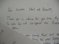 CO: Sprinklerfitters (UA 669) write letters to their Senators in support of Employee Free Choice