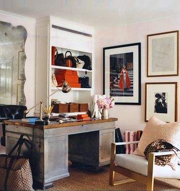Eclectic office: Pale pink + bold lines, designed by Windsor Smith