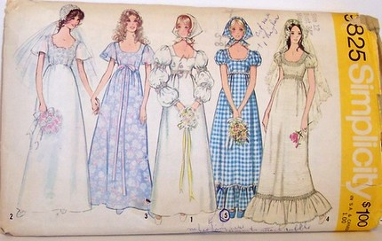 Designer Dress Patterns on Sewing Pattern Wedding Prom Formal Dress Empire Waist And Puff Sleeves