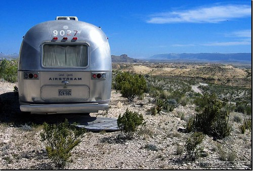 Airstream facing the Chihuahua desert in Terlingua
