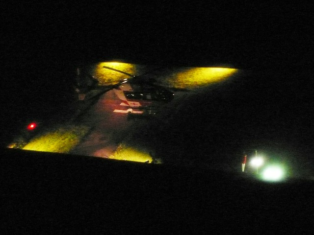 Helicopter landing Solothurn Hospital in the night