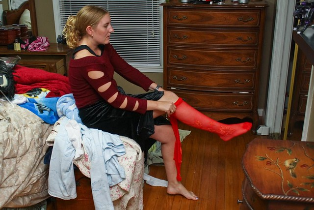 Another shot (I started posting some shots of this night several months ago but never finished) of Sarah fighting for supremacy with her rarely used pantyhose.  It was pretty exciting for both of us when she emerged victorious. by colorblindPICASO