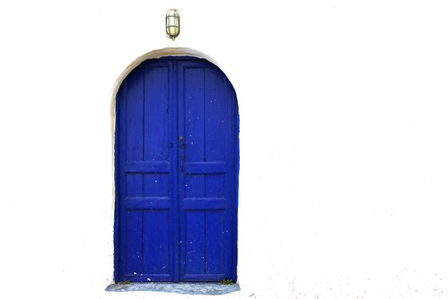 Blue door, white wall