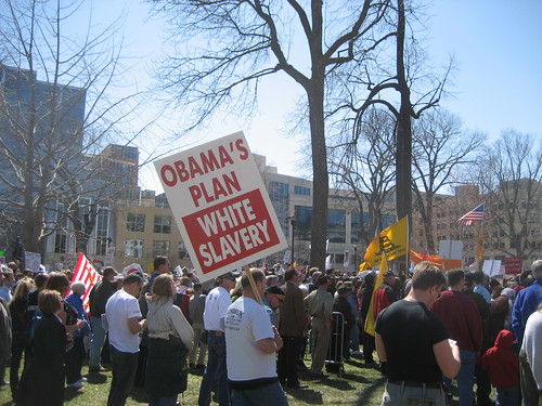 "Signs of Madison's Tea Party: ""Obama's Plan White Slavery"""