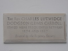 Photo of Charles Lutwidge Dodgson grey plaque