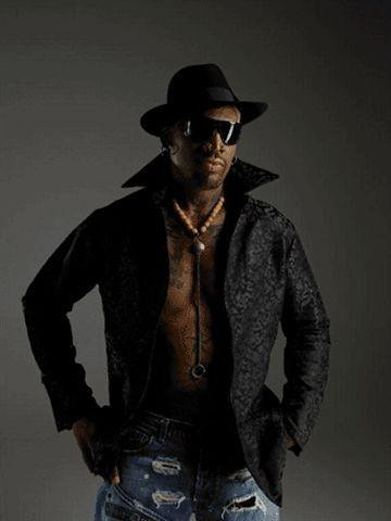 Dennis Rodman poses
