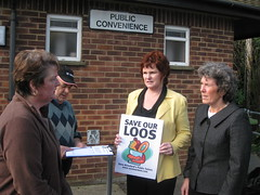 Sharon Bowles MEP joined local campaigner, Jackie Porter, in the campaign to save Alresford's public conveniences